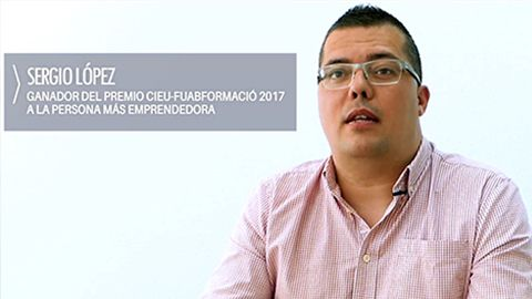 Sergio López was awarded the CIEU-FUABformació 2017 prize to the most entrepreneurial person